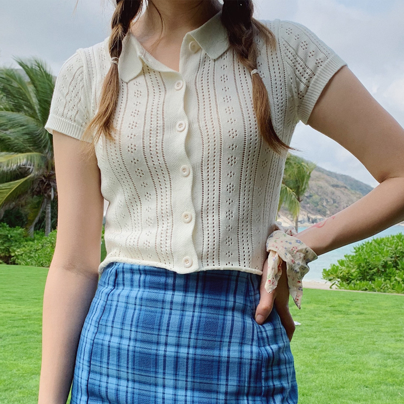 Women Mock Crochet Button Through Knitted Polo Top Crop Tee