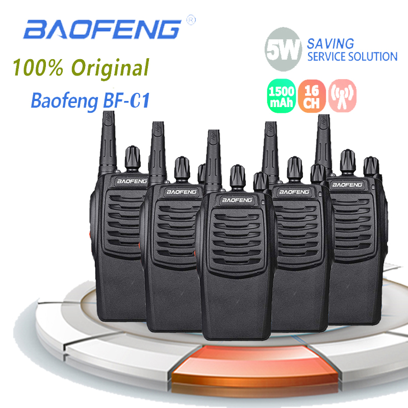 5PCS Baofeng BF-C1 Walkie Talkie 5W 16CH Two Way Radio UHF Portable For BF C1 Ham Radio BFC1 Transceiver 5km  Radio Comunicador