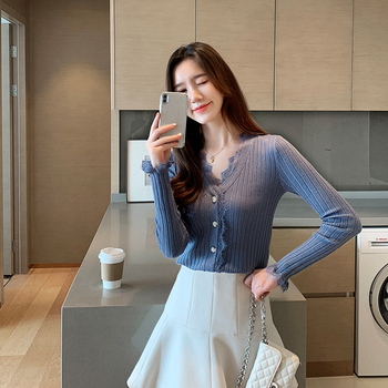 Ailegogo New Spring Women Cardigans Casual Female Lace V-neck Single Breasted Knitted Sweater Korean Style Slim Knitwear Tops 4