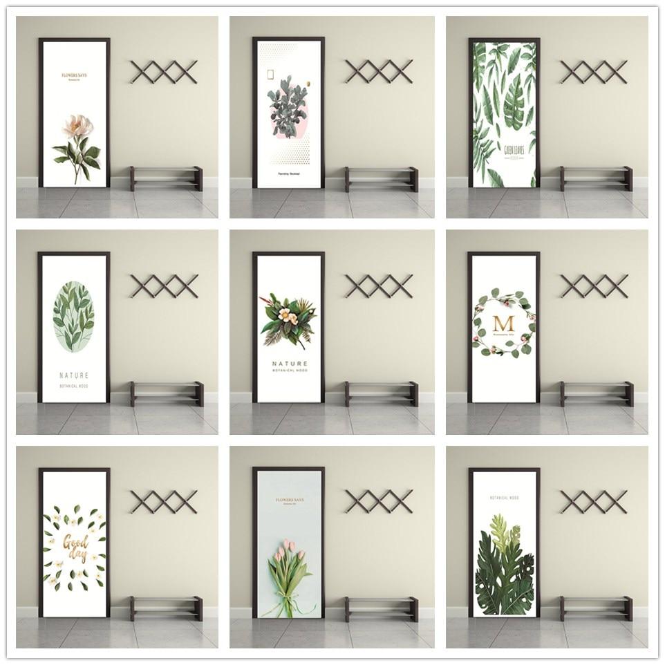 Simple And Fresh Door Sticker Self-Adhesive Waterproof Green Leaves Wallpaper For Doors Living Room Bedroom PVC Renew DIY Mural