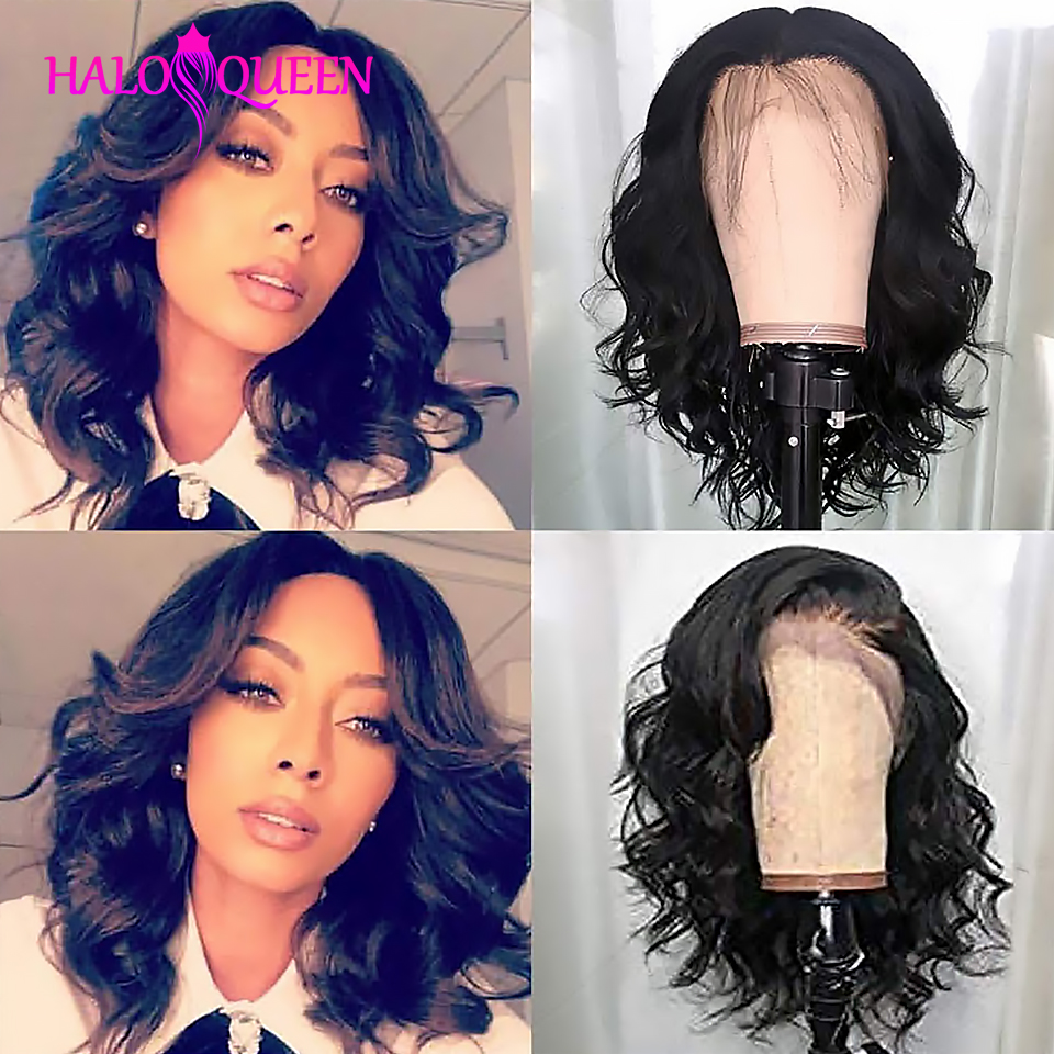HALOQUEEN 13x4 Lace Front Human Hair Wigs Body Wave Wig Remy Indian Short Human Hair Wigs Pre Plucked With Baby Hair Lace Wig