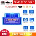 Лучший мини ELM327 Bluetooth V1.5 PIC18F25K80 Android IOS ПК WIFI ELM 327 1,5 25K80 OBD2 автомобильный дисгенический сканер