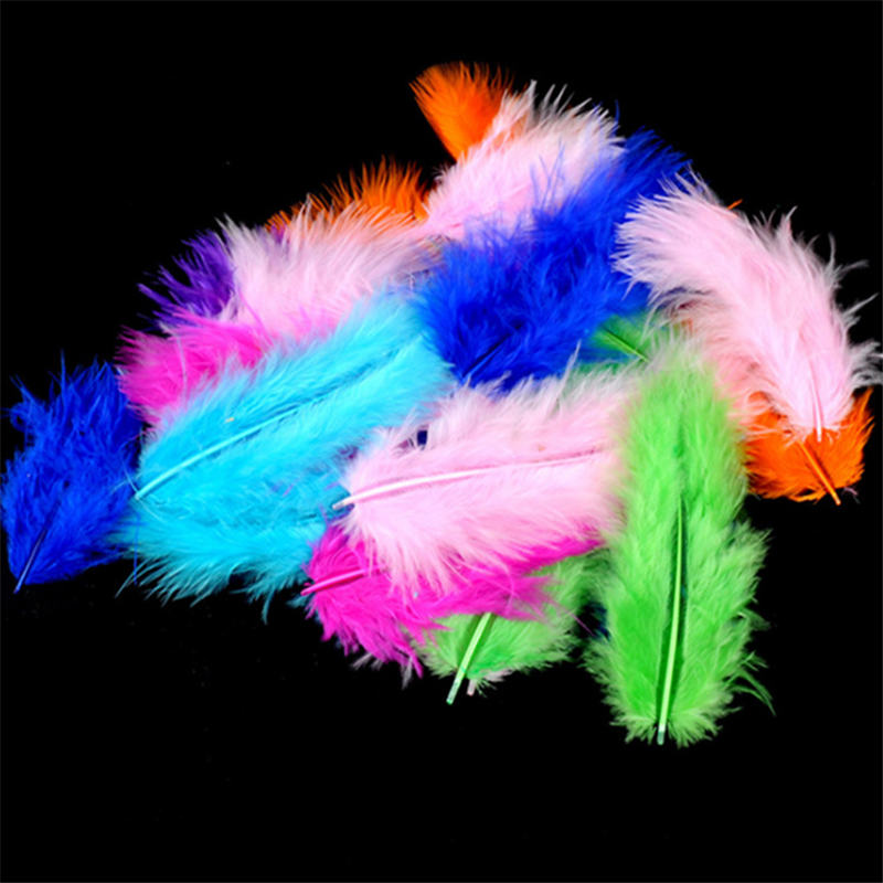 100PCs 7-10 cm Multicolor Feathers Puffy Wedding Dress DIY Christmas Gift Box Filler Decoration Craft Accessories
