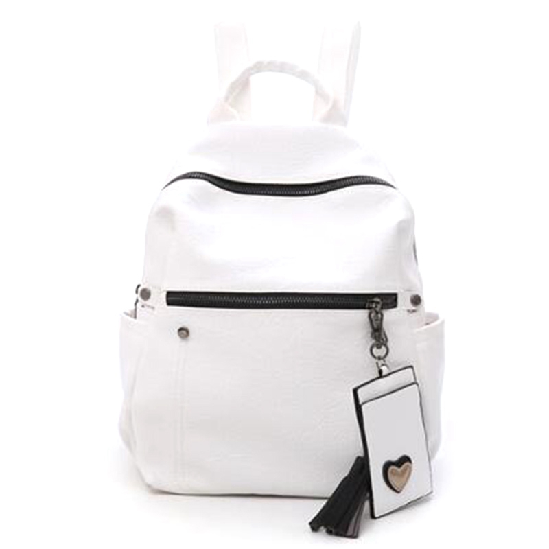 Fashion Shoulder Bag Female Pu Leather Large Capacity Ladies Backpack Casual Female Student Backpack Tassel Backpack