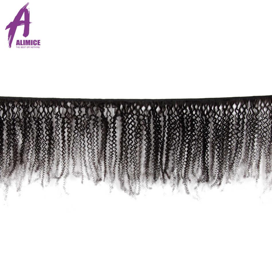 Mongolischen Afro Verworrene Lockige Haar Bundles Mit Verschluss 100% Remy Menschliches Haar Weave Bundles Mit Verschluss 4B 4C Alimice Natürliche haar