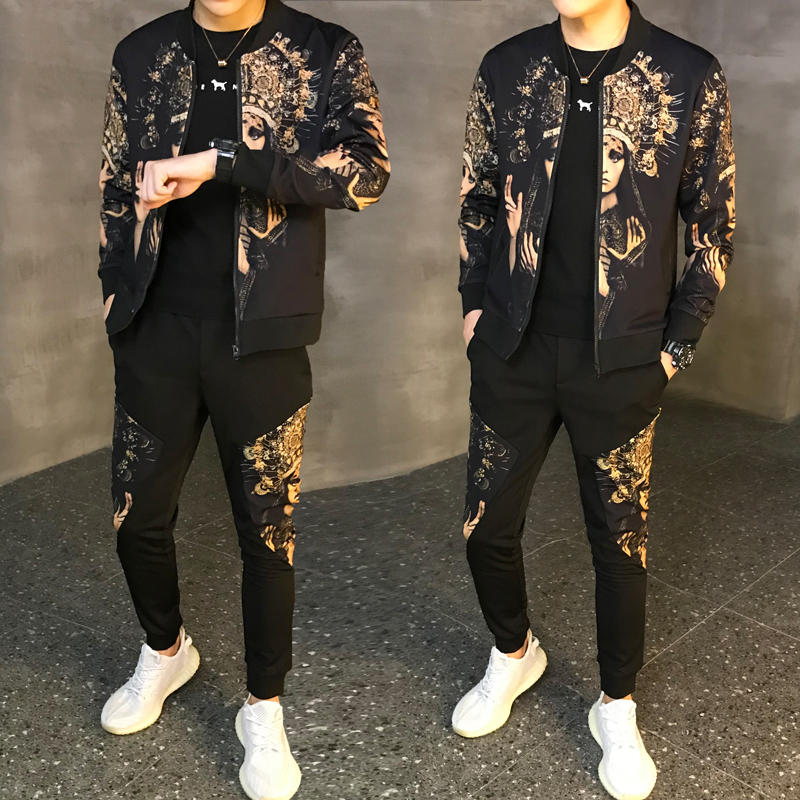 Man Sport 2 Piece Sets Sport Suit Jacket + Pants 2019 New Men's Set Autumn Tracksuit Male Tracksuit Asian Size Moda Hombre