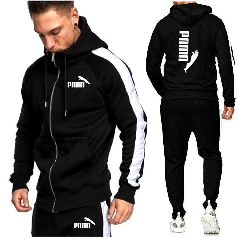 2020 New Brand Men Tracksuits Outwear Hoodies Zipper sports suit Sets Male Sweatshirts Cardigan Men Set Clothing Pants plus size