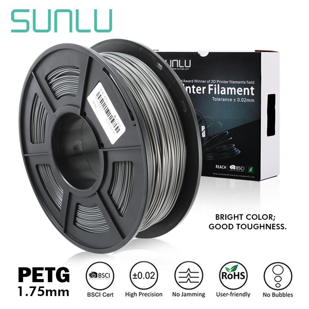 SUNLU 1.75mm 1kg PETG 3D yazıcı Filament 1.75mm 1KG/2.2LB makara siyah PET yazıcı malzemesi