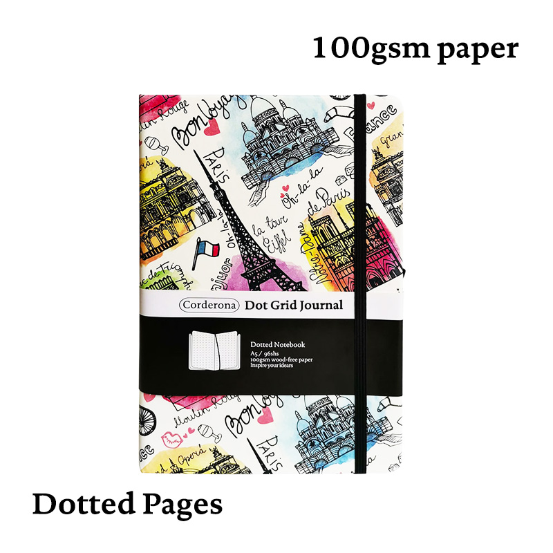 A5 Bullet Journal Dot Grid Hard Cover Notebook Elastic Band Travel Diary Dotted Planner Bujo Paris