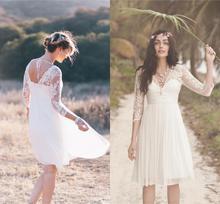 2021 Short Lace Boho Wedding Dresses Cheap Sheer Half Sleeves V Neck Pleated Chiffon Beach Bridal Gowns vestidos de mariee