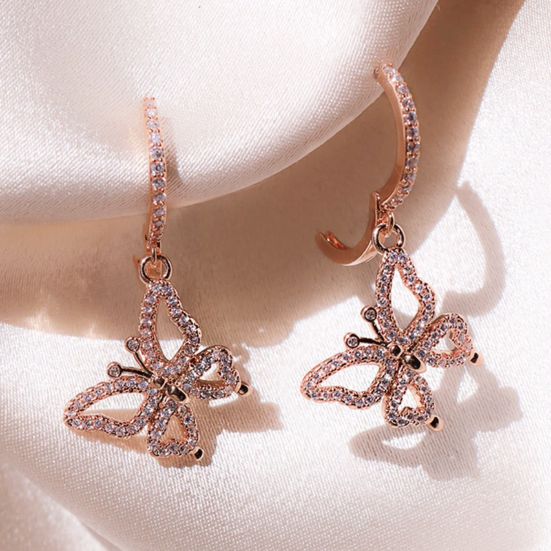Huitan New Romantic Rose Gold Color Butterfly Women Drop Earrings Inlaid Crystal Zircon Female Fashion Earring Jewelry Hot Sale(China)