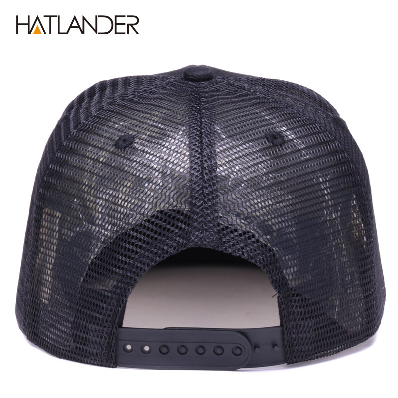 Hdf9828f19a694e7ca308b48eaf929154Y - HATLANDER Original Baseball caps for men women black snapback cap high quality cool hip hop cap 6panels bone mesh truck cap hat