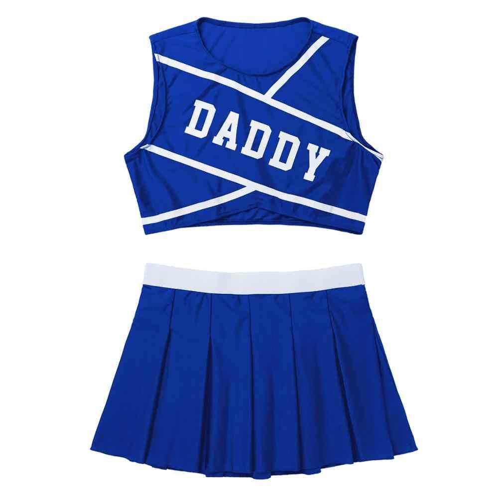 Frauen Cheerleader Uniform Schülerin Karneval Dancewear Crop Top mit Mini Plissee Röcke Rolle Spielen Cheerleading Kostüm