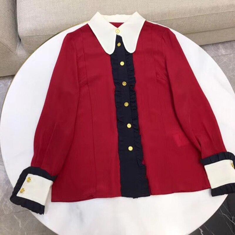 Bureau dame rouge Blouse Top élégant femmes qualité soie Blouse 2019 mode à manches longues Blouse femme