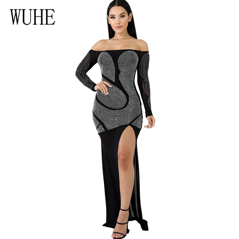 WUHE New Arrival Crystal Diamond Patchwork Mesh High-Split Maxi Dress Sexy Off Shoulder Women Hollow Out Clubwear Long