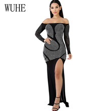 WUHE New Arrival Crystal Diamond Patchwork Mesh High-Split Maxi Dress Sexy Off Shoulder Women Hollow Out Clubwear Long Dress цена