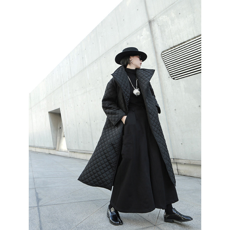 EAM Black Big Size Long Cotton padded Coat Long Sleeve Loose Fit Women Parkas Fashion