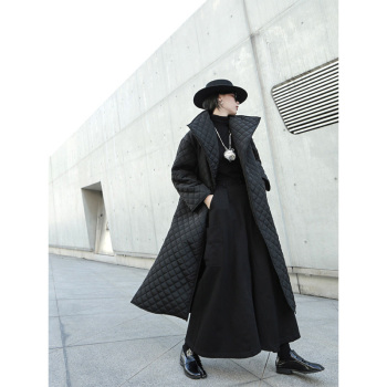 EAM Black Big Size Long Cotton padded Coat Long Sleeve Loose Fit Women Parkas