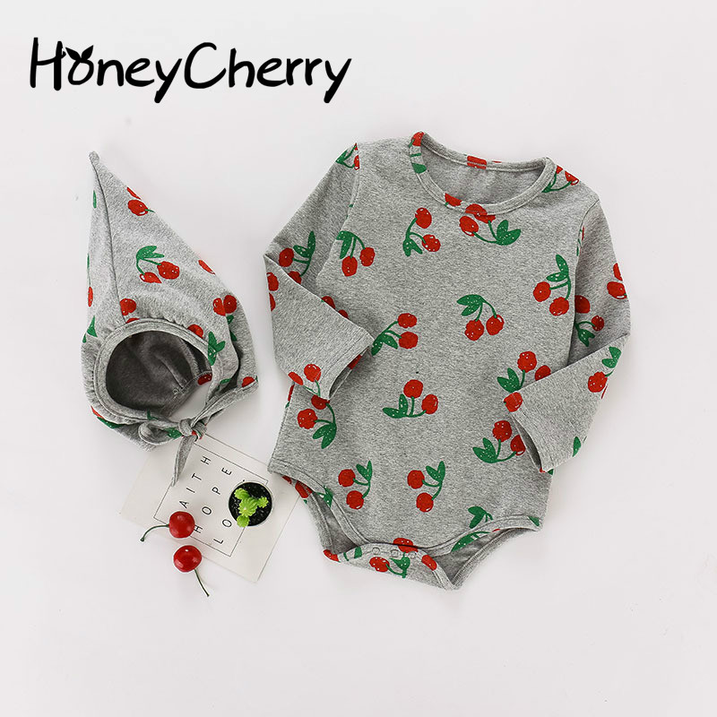2020 Autumn Baby Girl Bodysuits Baby Onesies Cute Cherry Print Cotton Long-sleeved Hooded Girls Bodysuit