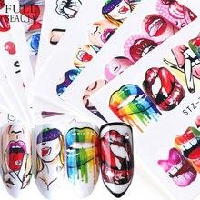 Полная красота 1 шт. популярный стиль водный слайдер для ногтевого дизайна наклейка переводной наконечник классные девушки губы розы DIY Нак...