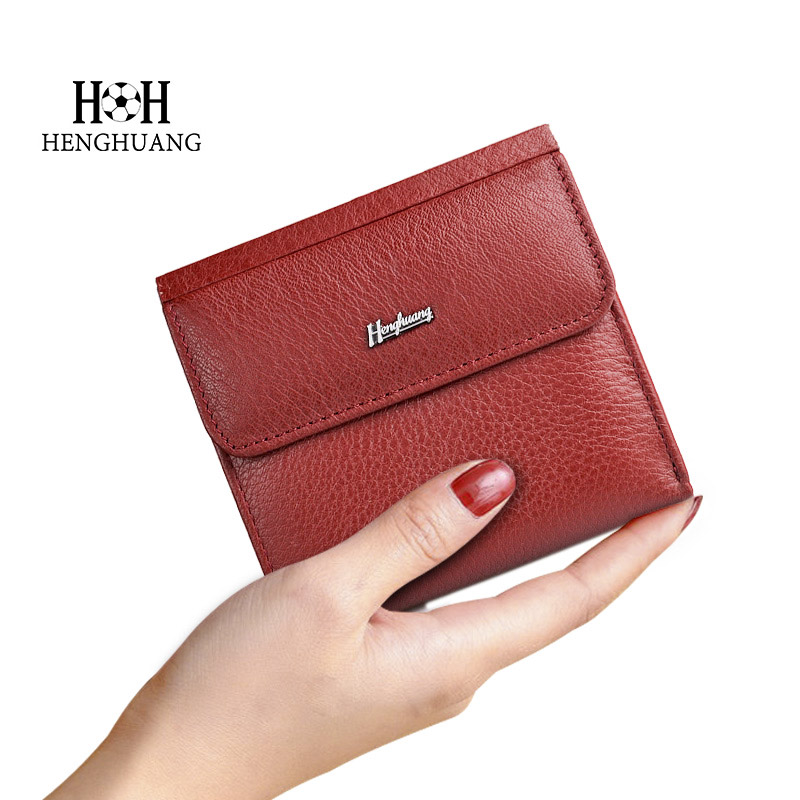 HH Mini Genuine Leather Women Wallet Small Luxury Female Cow Leather Coin Purses Slim ID Card Holder Wallets Ladie Money Bag