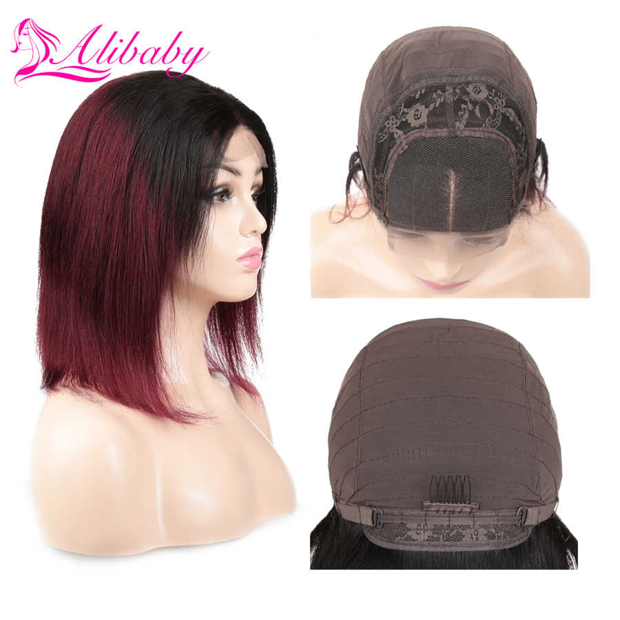 Alibaby Indian Hair 1B/Burgundy Ombre Pixie Cut 1b 99j 4x4 Lace Straight Human Hair Wigs Lace Closure Human Hair Bob Wigs