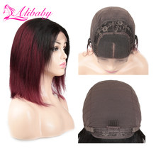 Alibaby Indian Hair 1B/Burgundy Ombre Pixie Cut 1b 99j 4x4 Lace Straight Human Hair Wigs Lace Closure Human Hair Bob Wigs(China)