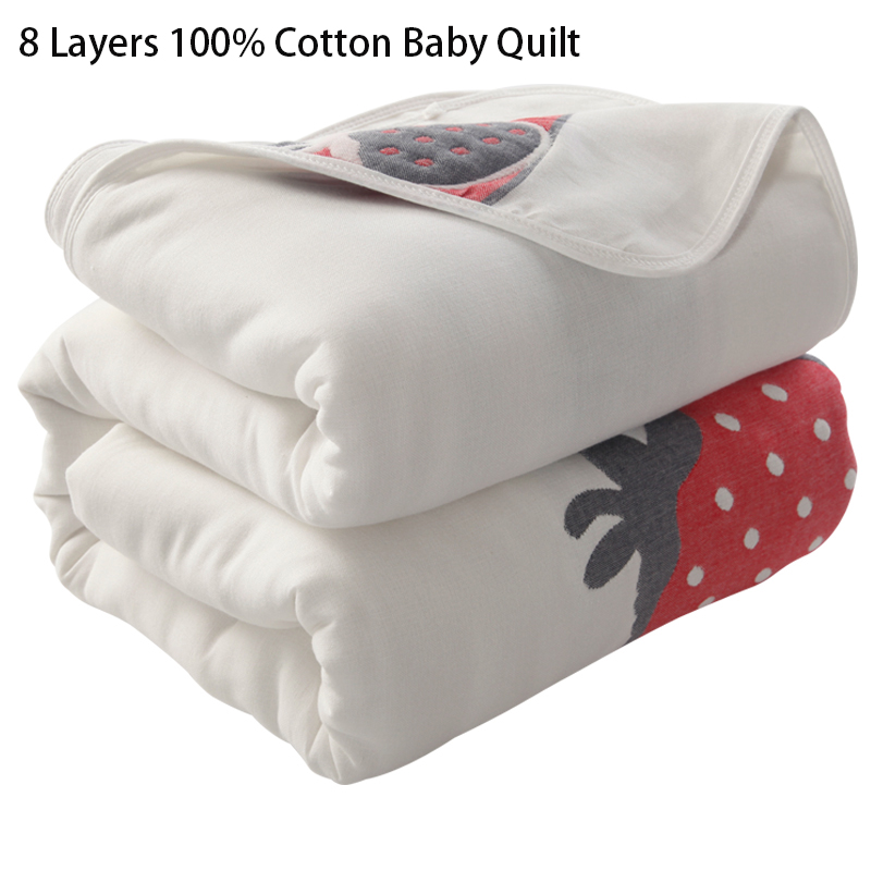 8 Layers Cotton Baby Quilt Newborn Baby Wrap Blankets Soft Toddler Infant Bedding Quilt For Bed Sofa Basket Stroller Blankets