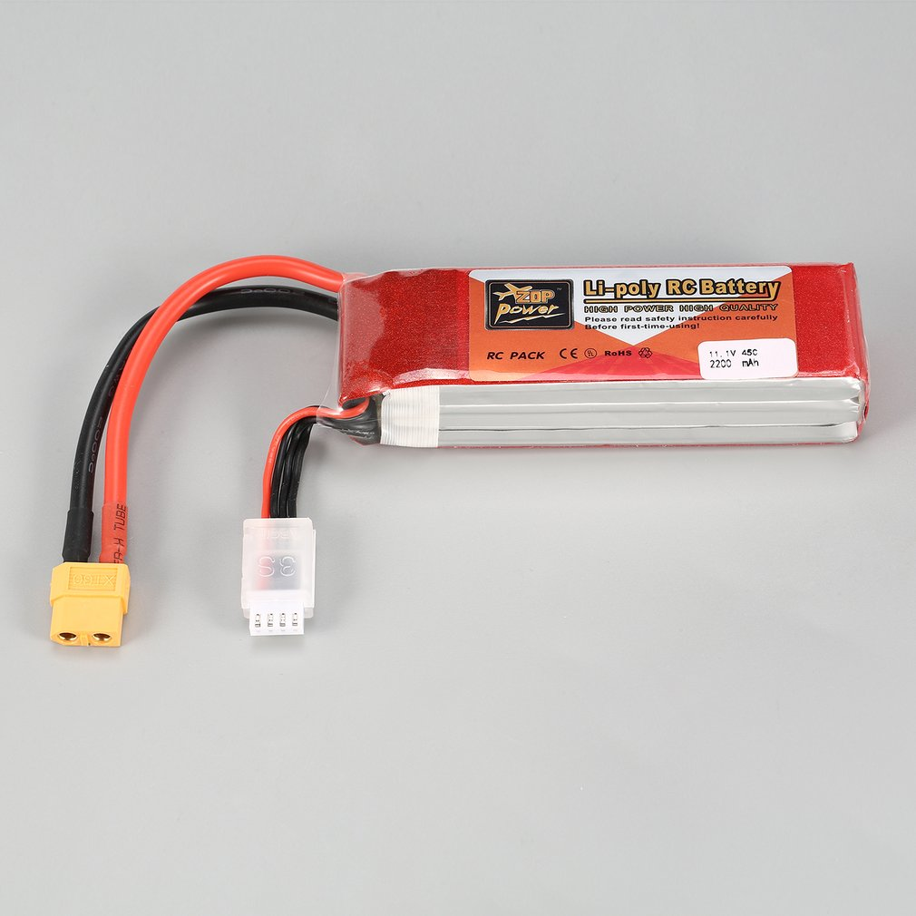 ZOP Power 11.1V <font><b>2200mAh</b></font> 45C <font><b>3S</b></font> 3S1P <font><b>Lipo</b></font> Battery XT60 Plug Rechargeable For RC Racing Drone Helicopter Multicopter Car Model image