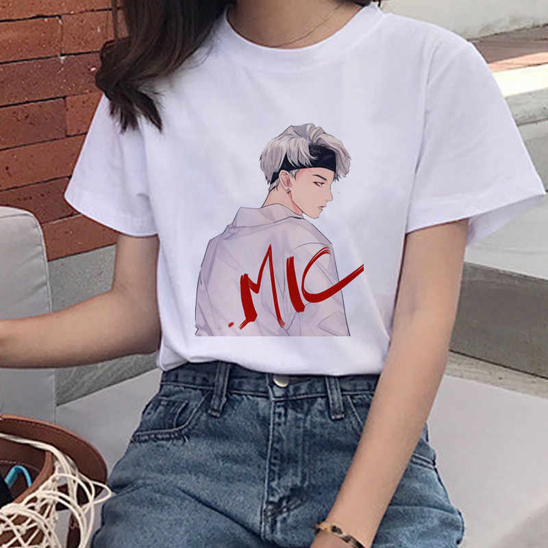 Kogelvrij Jeugd League Print T-shirt Mevrouw Korea Harajuku Jin Suga J Hoop Jimin V Jungkook Cartoon Meisje Top T-shirt