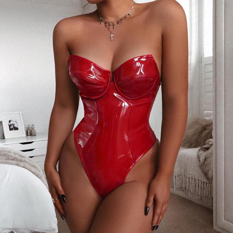 2020 Women Strapless PU Leather Sexy Bodysuit Solid Patent Vinyl Bodysuit Daily Outfit Jumpsuit Skinny Rompers Party Club Wear