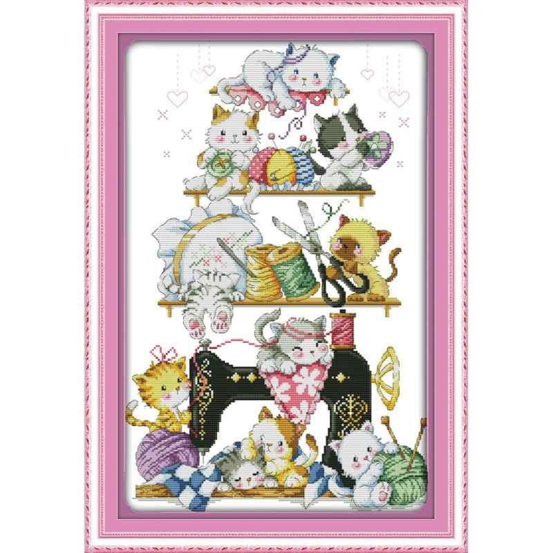 Kitten Besdie De Naaimachine (2) kruissteek Kit 14ct 11ct Handwerken Borduren Diy Cartoon Patroon Woondecoratie Ambachten