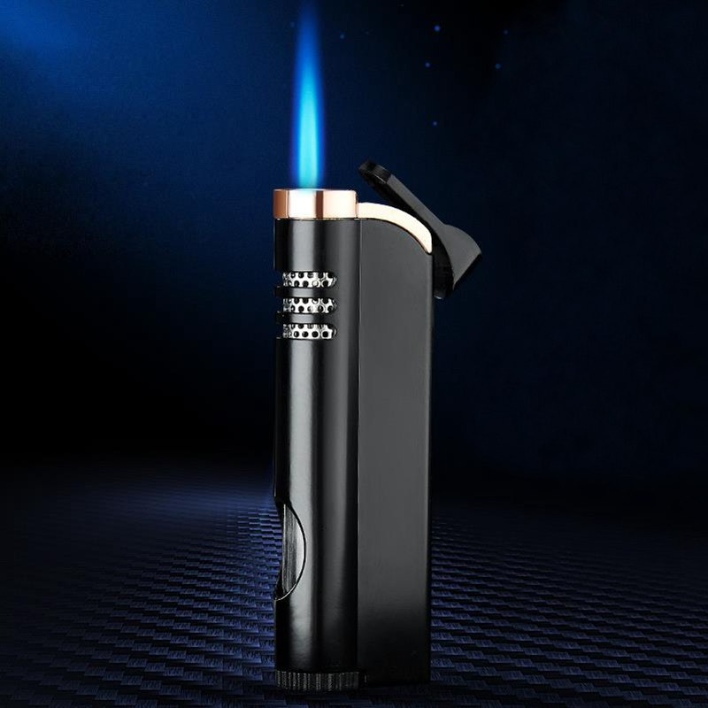 Windproof Gas Lighter Blue Flame Small Torch Refillable Butan Metal Lighters Thin Outdoor Portable Creative Cigarett Lighter in Matches from Home Garden