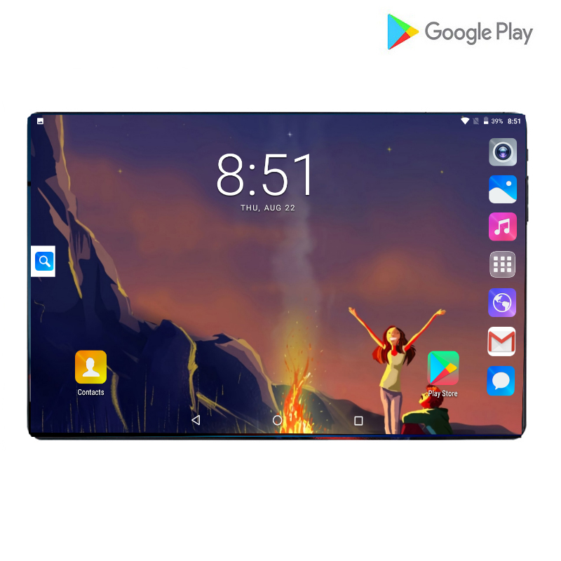 New 10.1 Tablet Screen Mutlti Touch Android 9.0 Octa Core Ram 6GB ROM 64GB Camera 8MP Phablet Wifi 10 Inch Tablet 4G LTE Pro Pc