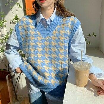 Suéter tejido suelto Vintage para mujer, chaleco de gran tamaño, Tops, ropa, atuendo, moda 2020