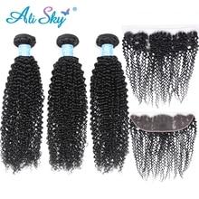 Alisky бразильские 3 пряди, афро кудрявые волосы с 13*4, фронтальные натуральные кудрявые пучки волос, бразильские волосы remy