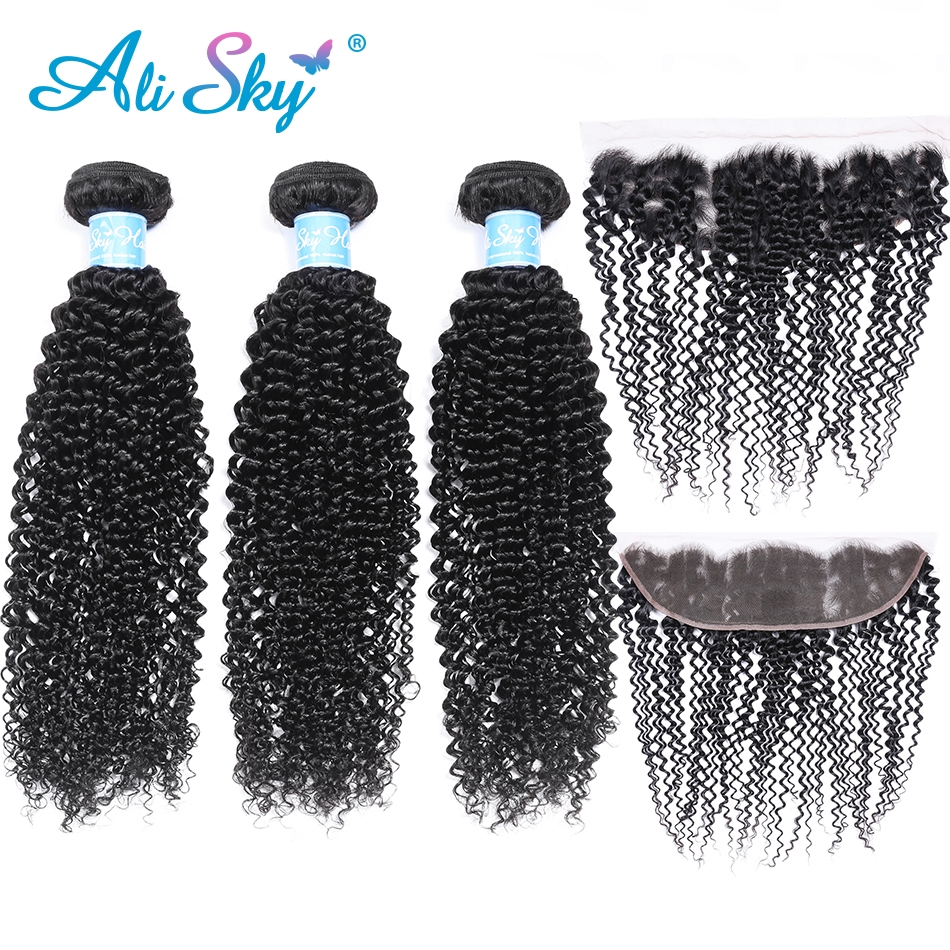 Alisky Brazilian 3 Bundles Afro Kinky Curly Hair With A 13*4 Lace Frontal Human Hair Weave Bundles Brazilian Remy Hair Wholesale