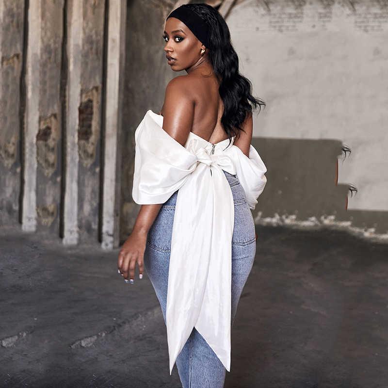Townlike Deep V Black Bow 섹시한 자르기 탑 여성 Strapless Summer Tops Shoulder Bandage 자르기 탱크 탑 Streetwear Cropped 2020