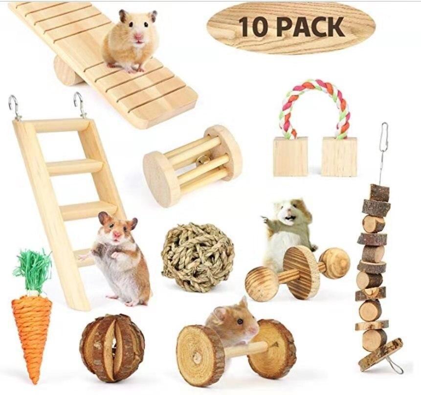 Игрушки для жевания хомяков, натуральные деревянные сосновые морские свинки, крысы, шиншиллы, игрушки, аксессуары, Колокольчик для занятий, ...