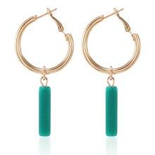 Геометрические кубовидные Зеленые Полимерные серьги, металлические круглые золотые серьги-кольца для женщин, модные ювелирные изделия Oorbellen Aretes De Mujer