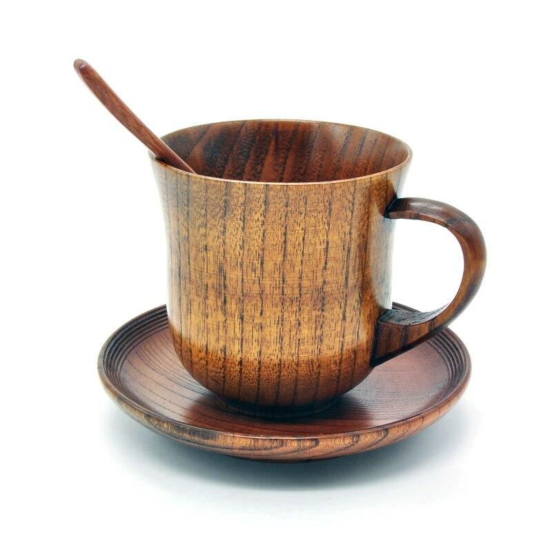 3Pcs/Set Wooden Cup Saucer Spoon Set Coffee Tea Tools Accessories