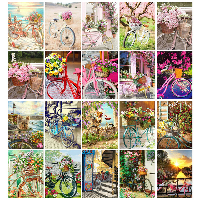Huacan 5d Diamond Painting Full Drill Square Bicycle Farmhouse Home Decor Mosaic Bike Landscape Embroidery Flower Diamond Art