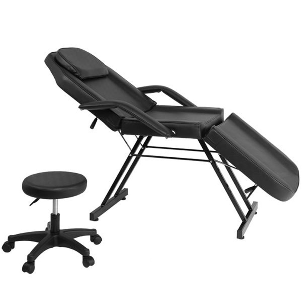 Adjustable Beauty Salon SPA Massage Bed Tattoo Chair With Stool Black Beauty Bed For Salon Fortable