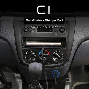 Image 5 - C1 QI kablosuz araba şarjı Pad iPhone 11 Pro Max hızlı hızlı kablosuz şarj cihazı 10W 7.5W depolama çekmecesi
