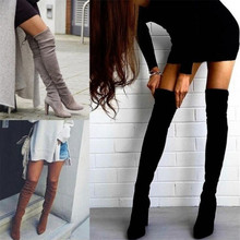 New womens boots over the knee long tube suede thick with high heel warm winter women boots fashion casual womens shoes