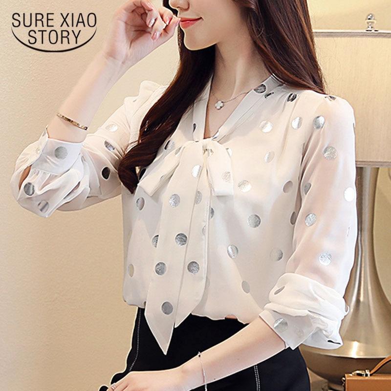 Blouse women 2020 spring white long sleeve shirts for women tops bow chiffon blouse Polka Dot V-Neck blusas femininas 7960 50