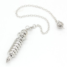 Trendy-beads Silver Plated Spiral Shape Pendulum for Dowsing Pendant Metal Ball Chain Jewelry