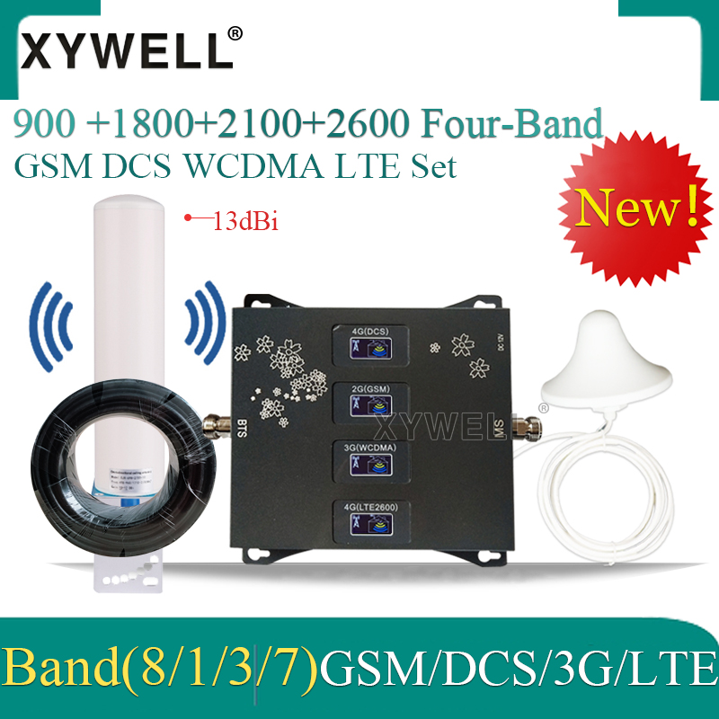Hot!! 900/1800/2100/2600mhz Four-Band 4g Cellular Amplifier 4G Mobile Signal Booster Gsm Repeater 2g 3g 4g DCS WCDMA LTE GSM