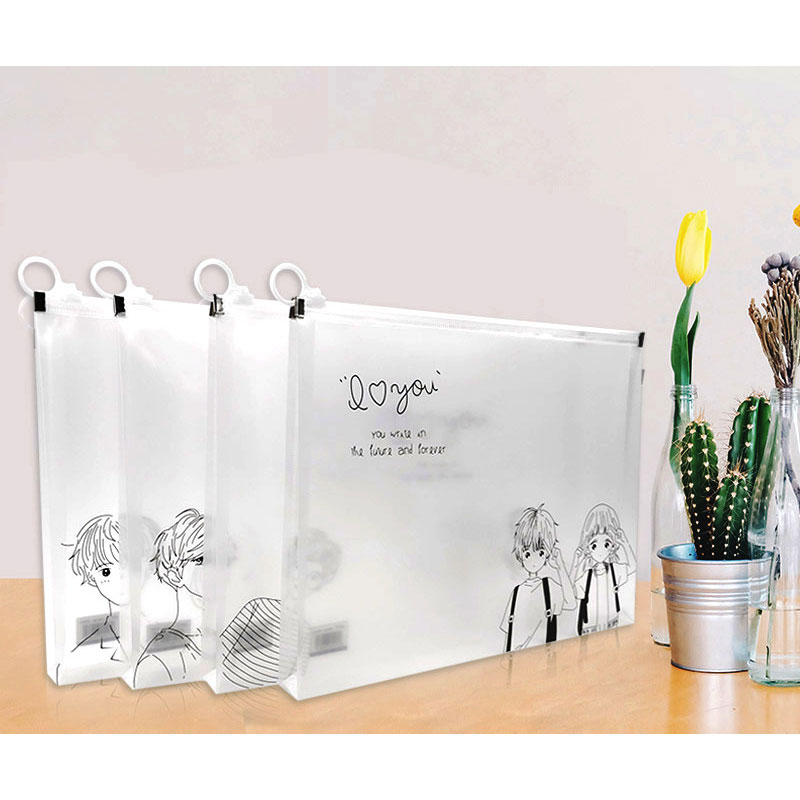 A4 Clear Folder File Folder Cartoon Style Office Organizers PP Document Organizer File Folder Fashinable
