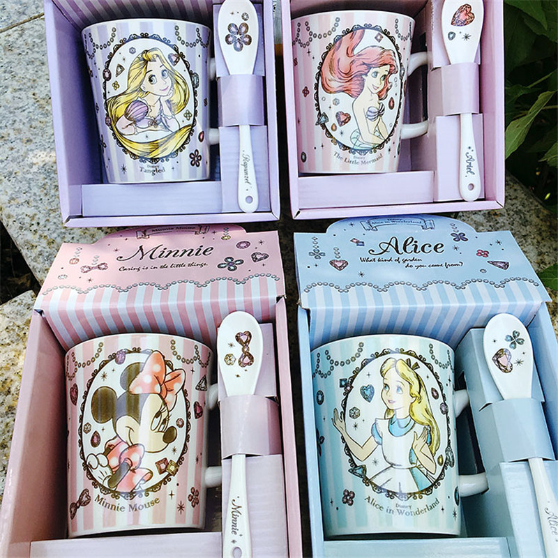 270ml Disney Cartoon Ceramic Cup Tea Coffee Water Mug Home Office Girl Boy Cups Collection Cup Gifts(May Be Small Defect)